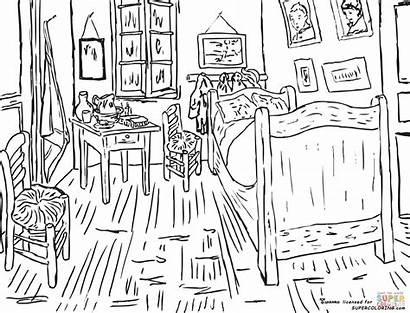 Gogh Arles Colorear Coloring Dibujos Vincent Dormitorio