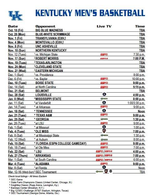 official university kentucky basketball schedule