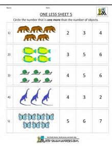 Printable Number Worksheets Kindergarten Math Printable Worksheets One Less