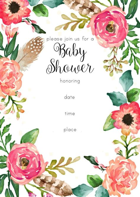 Free Printable Baby Shower Invitations For - free printable floral shower invitation baby shower