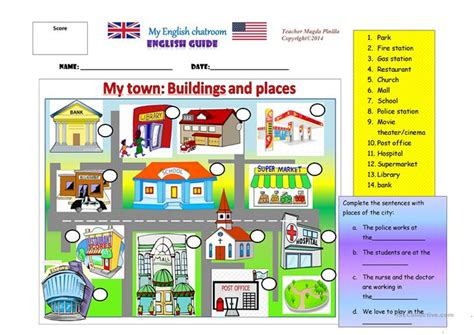 My Town Places And Buildings Worksheet  Free Esl Printable Worksheets Made By Teachers