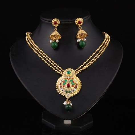 hesiod indian wedding jewelry sets gold color full crystal