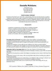 restaurant owner resume sle 28 images restaurant