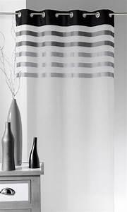 Kit Rayure Vitrage : voilage en voile avec parement rayures color es gris ~ Premium-room.com Idées de Décoration
