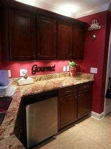 kitchen before with red wall we ve had that accent home With kitchen colors with white cabinets with fat chef wall art