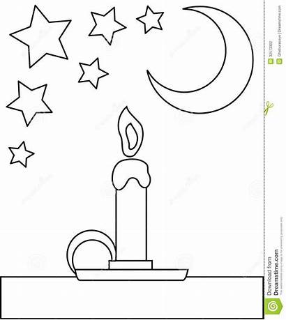 Candle Coloring Cartoon Children Night Colored Representing