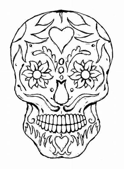 Skull Tattoo Linocut Coloring Printable Skulls Adult