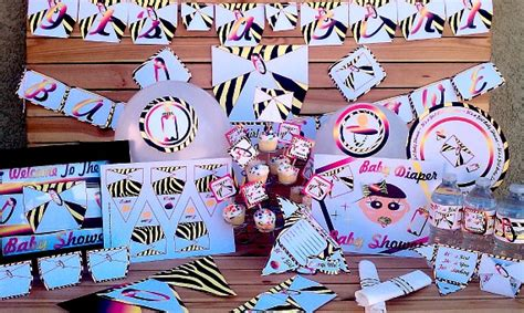 pink zebra diaper girls baby shower decorations
