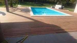 tour d39une piscine bois en bois exotique ipe sur dalle With parquet sur dalle béton