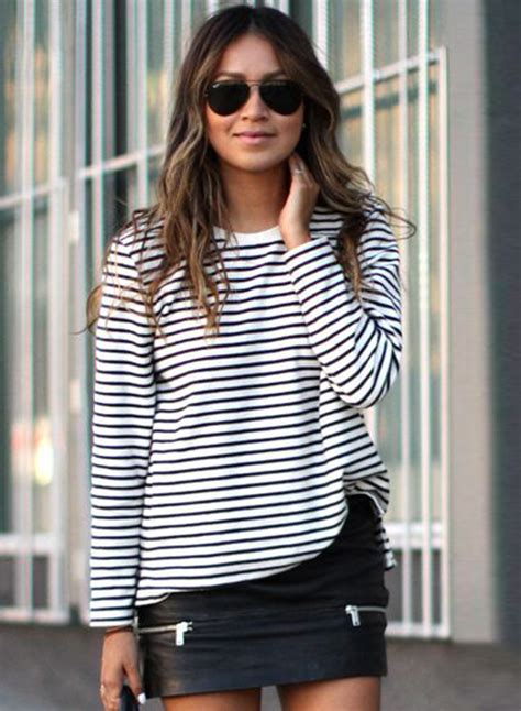 Womens Fashion Stripe Long Sleeve Loose Fit Pullover