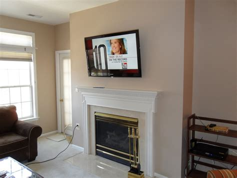 Living Room Fireplace Tv Wall Mounting Installation 2