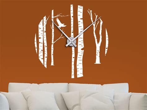 Wandtattoo Uhr Zeit Für Natur Birkenwald Wandtattoosde