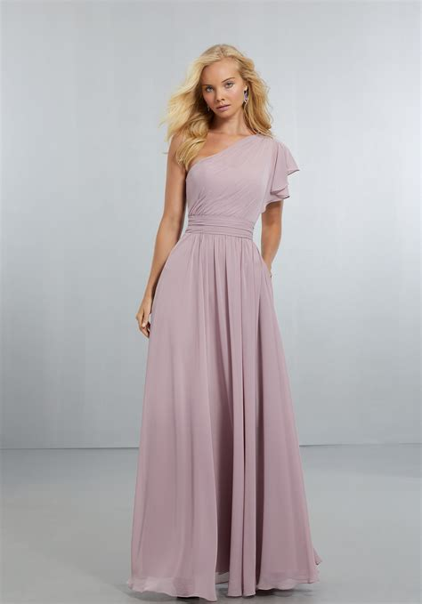 chiffon bridesmaids dress with one shoulder flounced sleeve