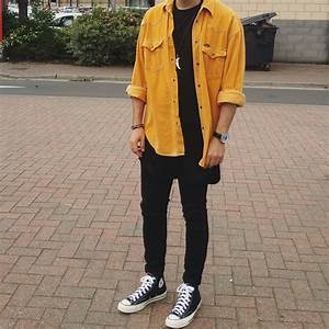 WIWT Vintage Mustard Shirt Extended Black T-Shirt Skinny Jeans and 70s Converse.  malefashion