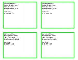 address card template word new address cards template word templates