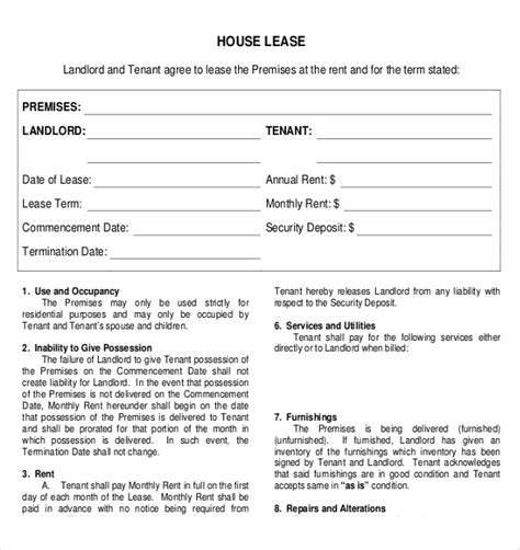 rental agreement template   word  documents