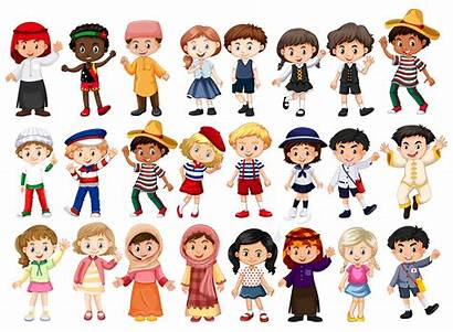 International Costume Vector Multicultural Clipart Characters Eyes