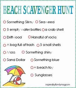 Beach Scavenger Hunt - Inspired by Family