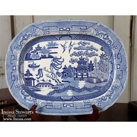 antique blue white transferware platter antique china
