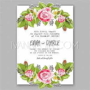 Romantic pink rose bridal shower invitation bouquet for Wedding invitation designs fuchsia pink