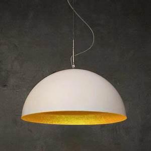Suspension Grande Taille : suspension blanc or 120cm mezza luna 2 lights ~ Teatrodelosmanantiales.com Idées de Décoration