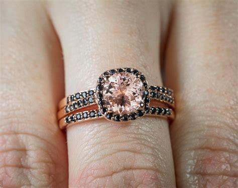 sale 2 50 carat morganite and black diamond trio wedding bridal ring in 10k rose gold with
