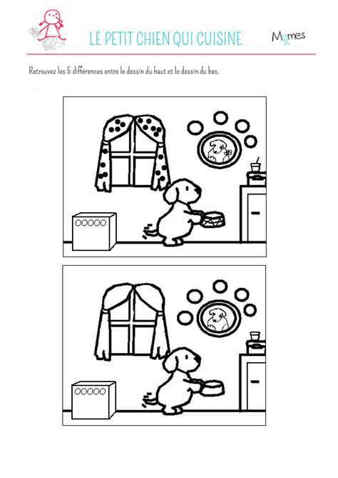 dessin de cuisine à imprimer jeu des 5 erreurs le petit chien qui cuisine momes