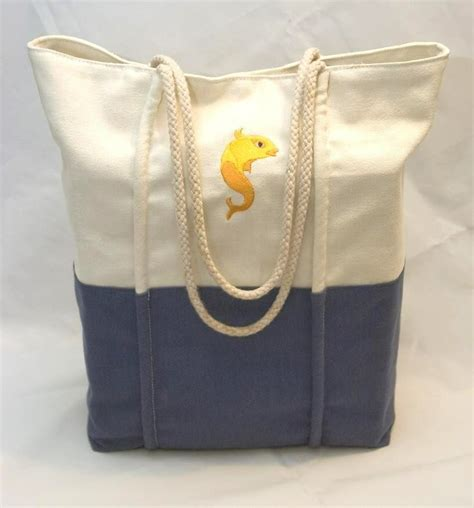nautical canvas tote bag with rope handles ebay