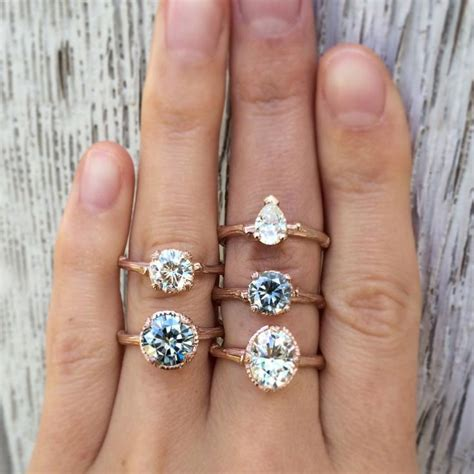natural grey white moissanite engagement rings