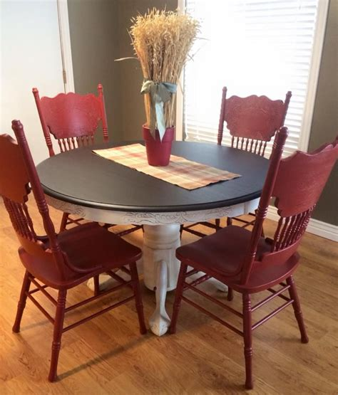 dining set in java gel stain and brick milk paint
