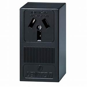 Leviton 50 Amp Thermoplastic Power Single Outlet  Black