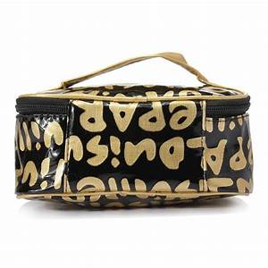 buy portable handle letter print design travel zip around With letter makeup bag