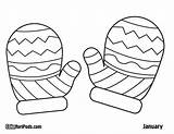 Mittens Coloring Mitten Pages Printable Template Winter Colouring Drawing Sheets Pattern Sheet Hat Snowman Christmas Crafts Craft Preschool Clipart Kid sketch template