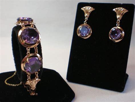 Alexandrite Bracelet & Earrings; 14K Rose Gold, Egyptian