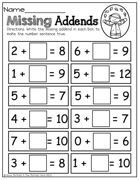 missing addends math math school and