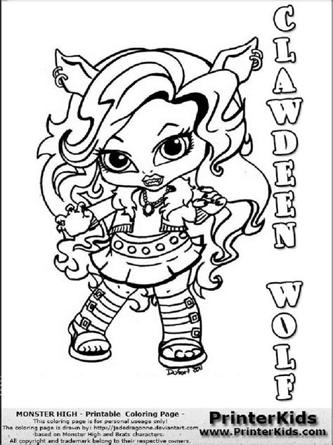 baby monster high coloring pages  printable baby