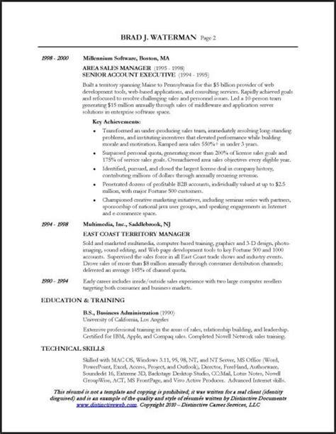 resume sample   sales executive