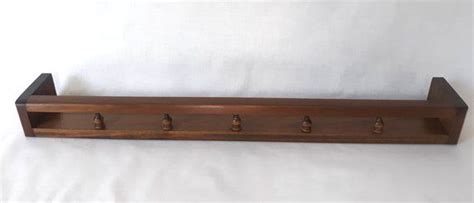 vtg floating wall shelf wspindles gallery rail figurines plate display solid wood rack spices