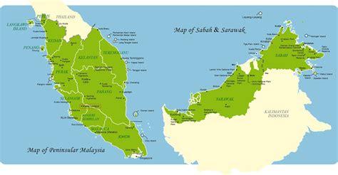 map  east  west malaysia travel malaysia