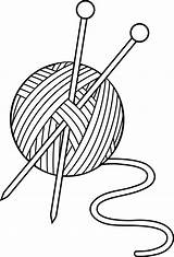 Knitting Needles Clip Clipart Yarn Library Cliparts sketch template