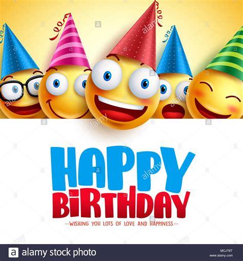 happy birthday smileys vector hintergrund design mit
