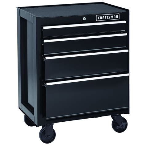 rolling tool cabinet craftsman 26 quot 4 drawer heavy duty rolling cabinet black