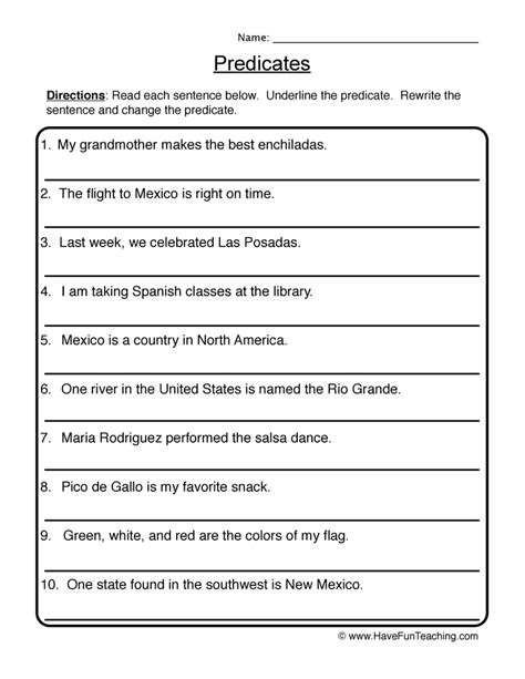 100 complete subject and predicate worksheets 6th grade