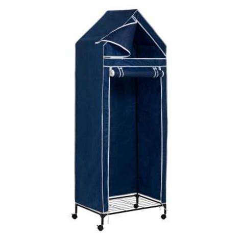 honey can do portable covered closet rack with wheels in