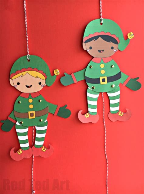 easy christmas elf paper puppet  templates red ted