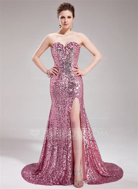 trumpetmermaid sweetheart court train sequined prom