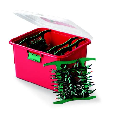 red holiday lighting storage box