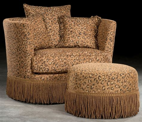 leopard print swivel barrel chair