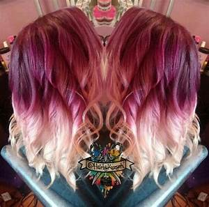 Burgundy Blonde Two Tone Ombre Dyed Hair Hair