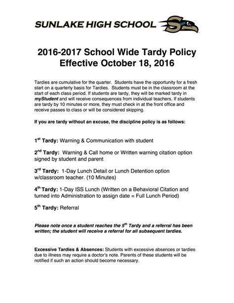 tardy policy effective sunlake high school